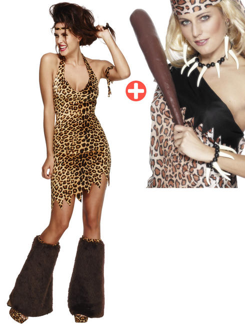 Ladies Fever Cave Woman Costume & Voodoo Set