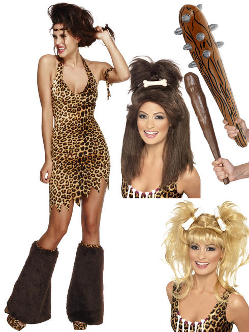 Ladies Fever Cave Woman Costume, Club & Wig
