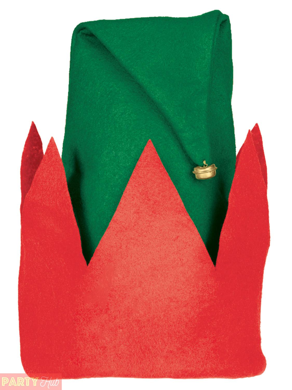 childs santa elf hat boys girls father christmas fancy dress costume