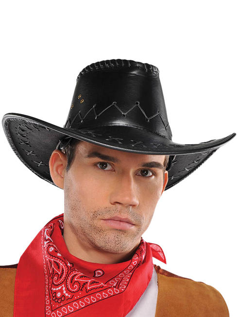 Adults Cowboy Faux Leather Hat