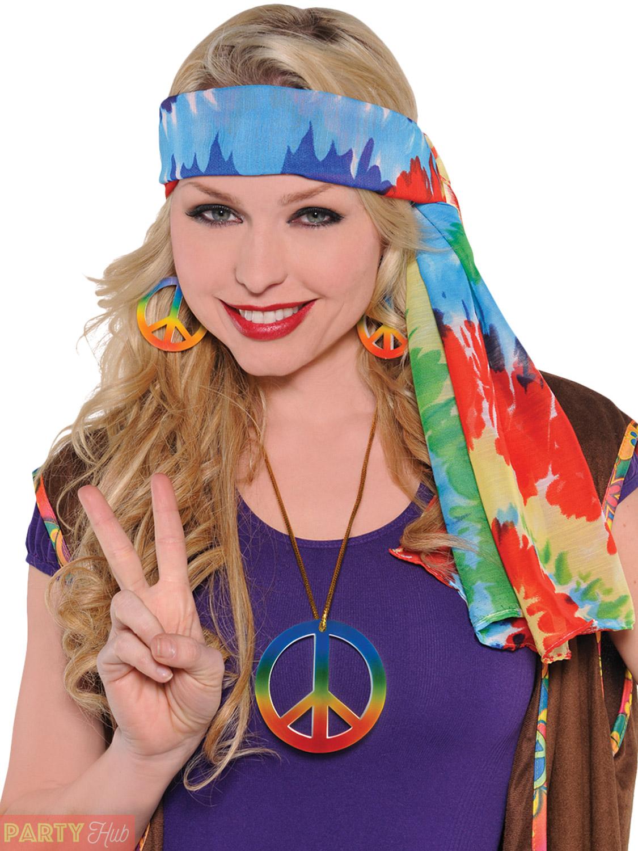Adults 60s Hippie Accessories Mens Ladies Hippy 70s Fancy
