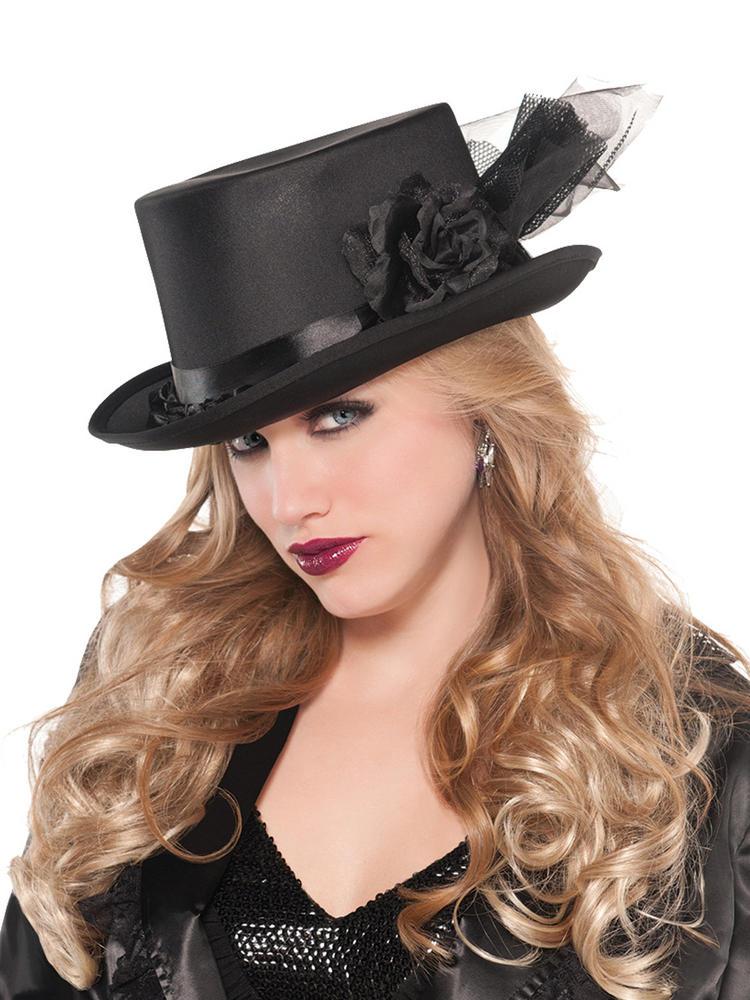 Ladies Embellished Black Top Hat
