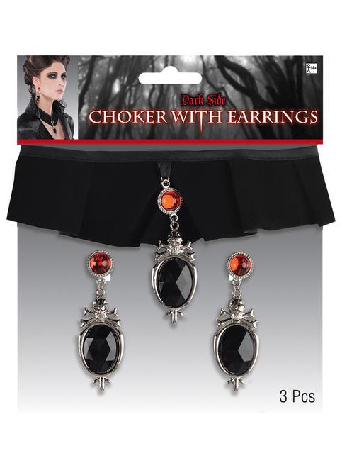 Adult's Gothic Vampire Choker & Earrings