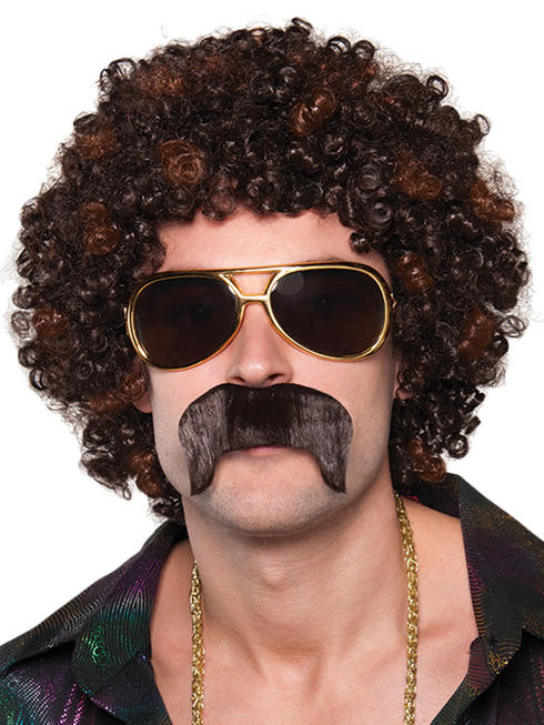 Adults Disco 70s Hound Wig & Moustache