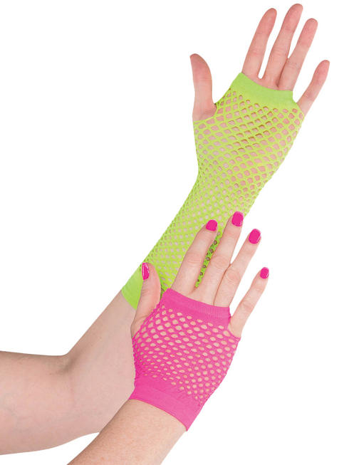 Ladies Electric Party Neon Fishnet Gloves