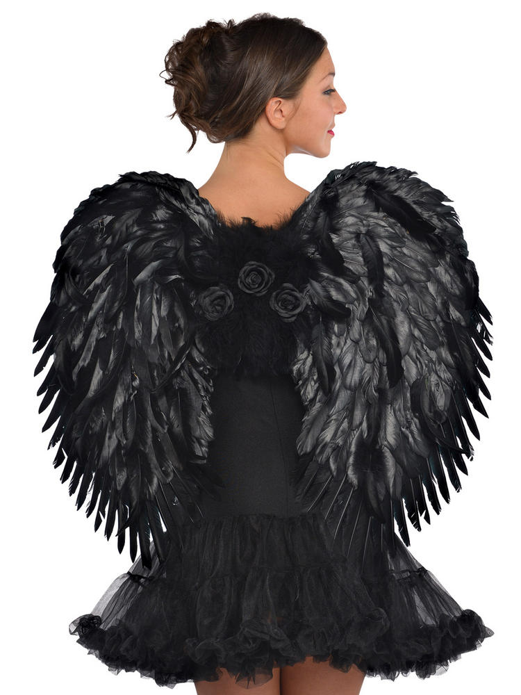 Ladies Dark Angel Feather Wings