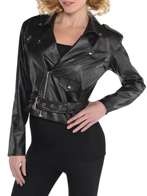 Ladies 50s Cropped Faux Leather Jacket