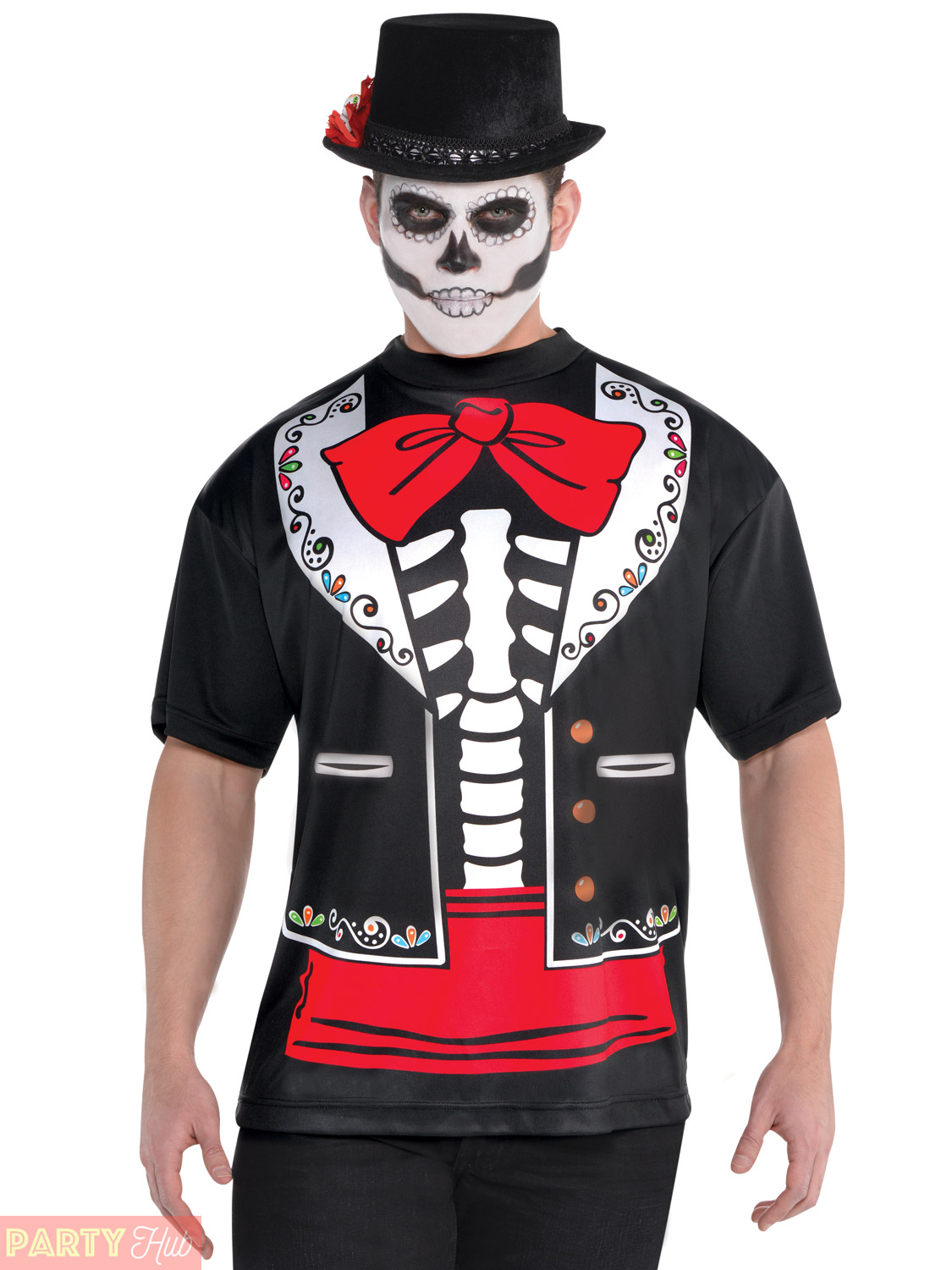 Mens-Day-Of-The-Dead-Skeleton-Tailcoat-Halloween-Fancy-Dress-Costume-Mexican