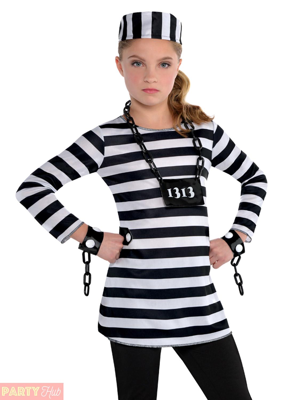Childs-Girls-Prisoner-Costume-Teen-Convict-Robber-Fancy-  sc 1 st  eBay & Childs Girls Prisoner Costume Teen Convict Robber Fancy Dress ...