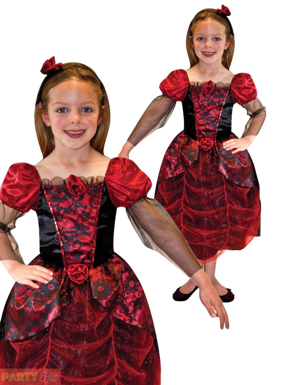 Girls Gothic Ball Gown Costume Childs Vampire Halloween Fancy Dress ...