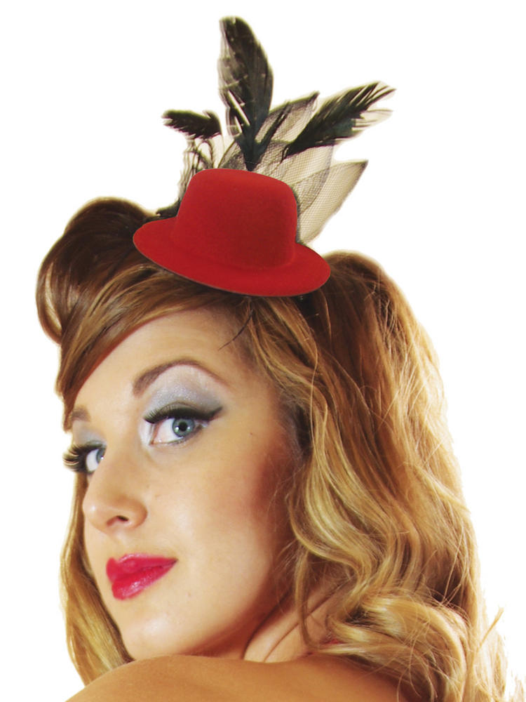 Ladies Red Mini Top Hat