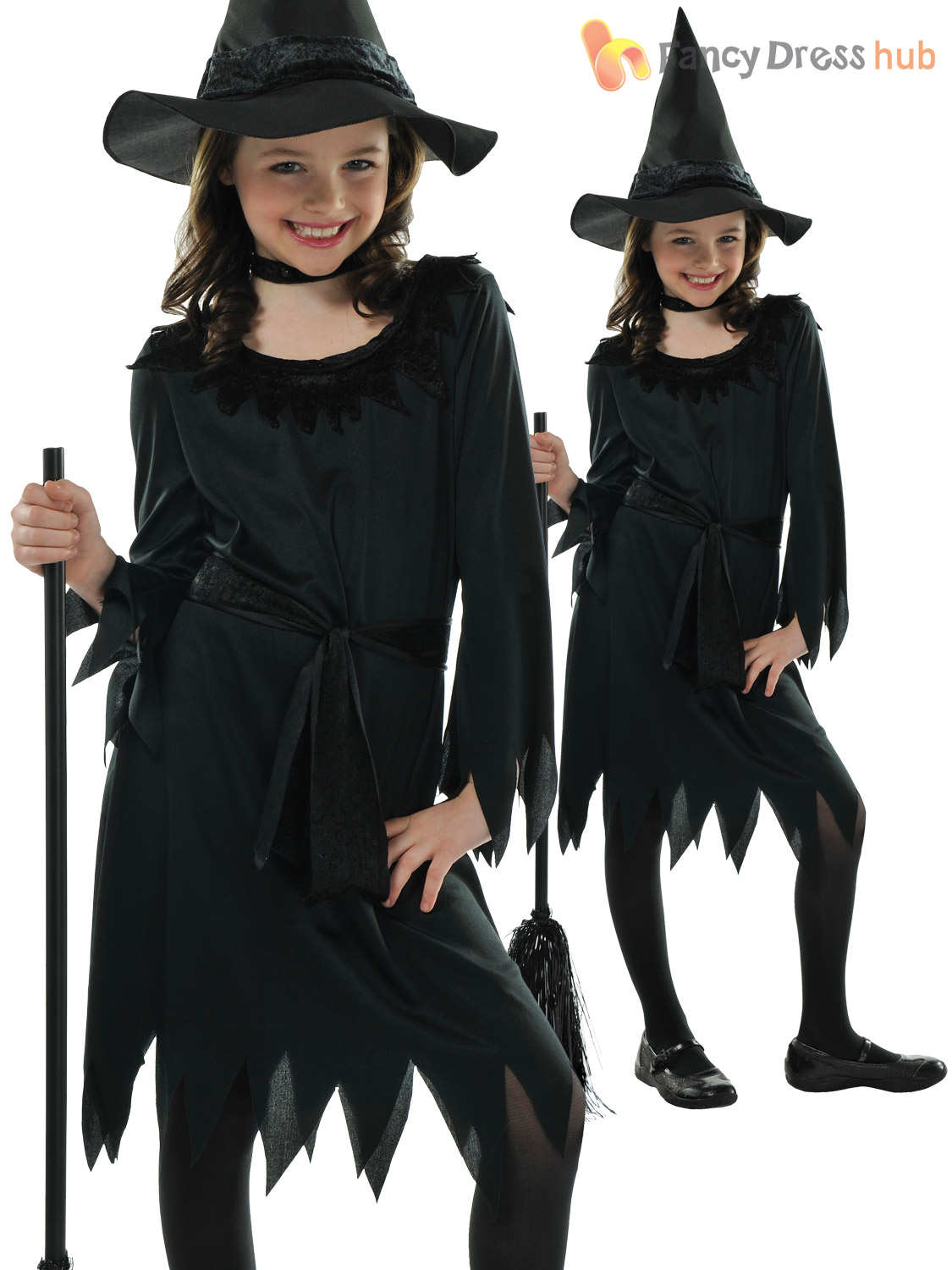 a6bba31e95232 Girls Halloween Witch Costume Toddler Fancy Dress Outfit Childrens ...
