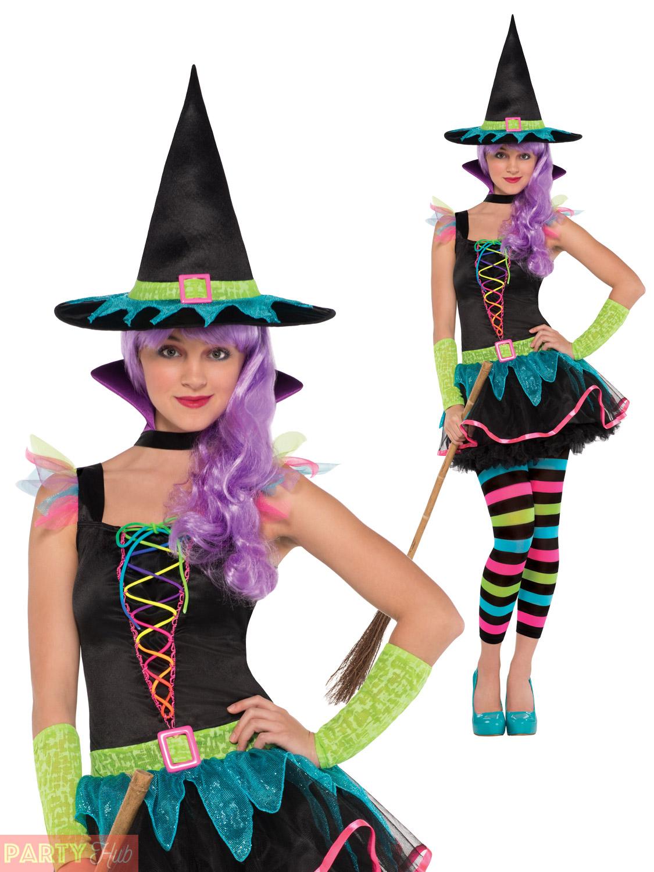 Girls-Neon-Witch-Costume-Rainbow-Childs-Teen-Halloween-  sc 1 st  eBay & Girls Neon Witch Costume Rainbow Childs Teen Halloween Fancy Dress ...