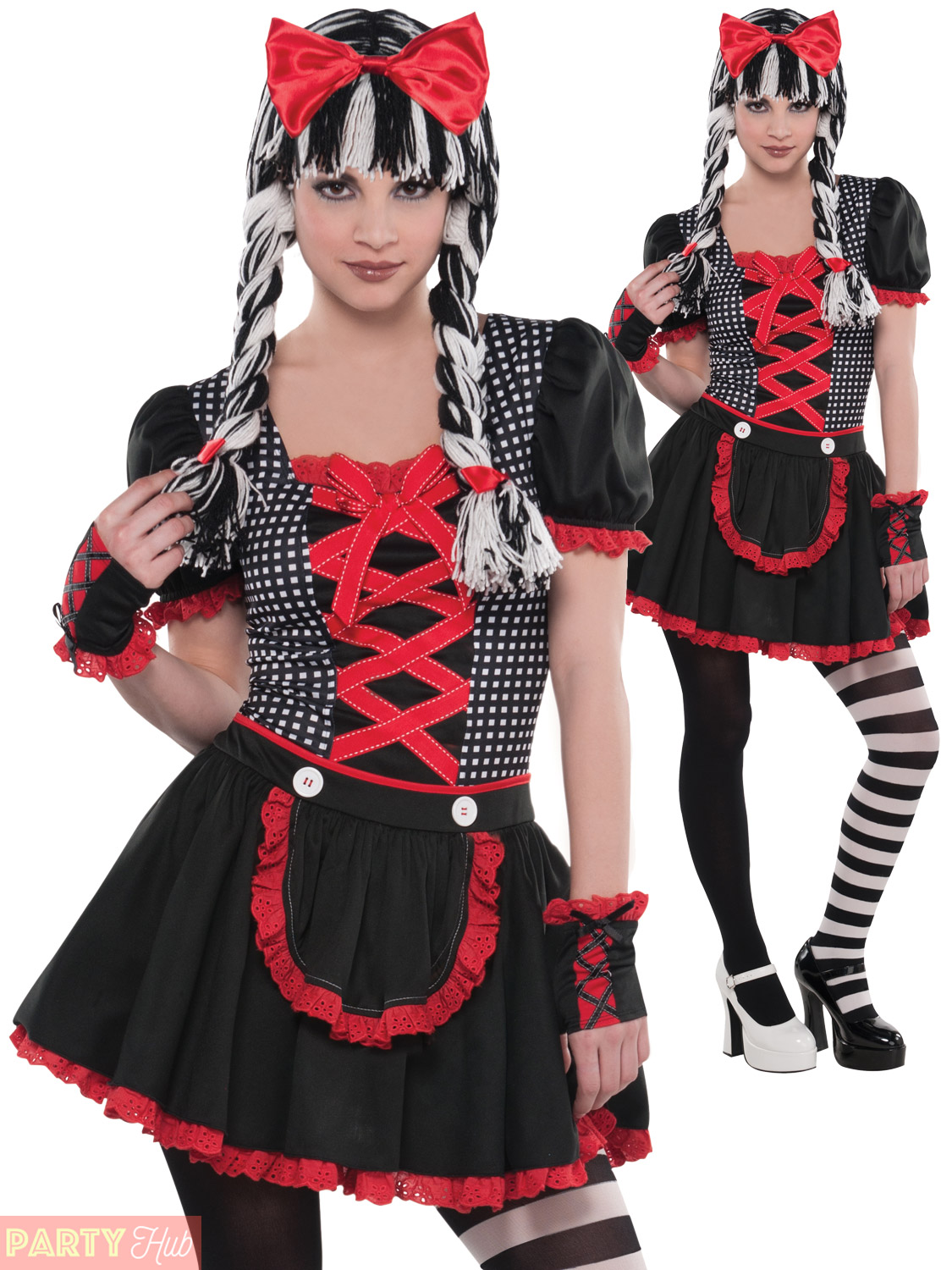 Girls Teen Goth Doll Costume Childs Halloween Gothic Ragdoll Fancy Dress Outfit
