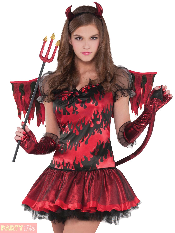 Girls Teen Hot Stuff Devil Costume Childs Halloween