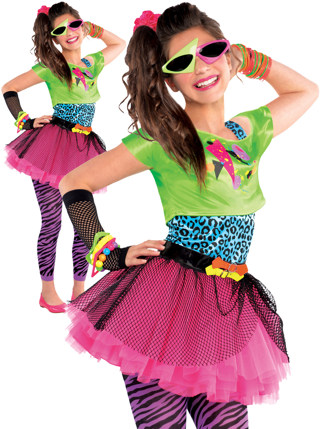 childs girl 80s costume totally awesome teen neon disco
