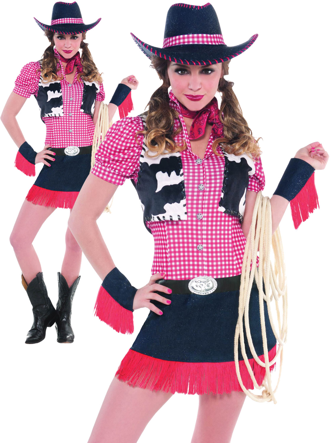 Ladies Rodeo Girl Costume Small UK 8-10 For Wild West Cowboy Fancy Dress