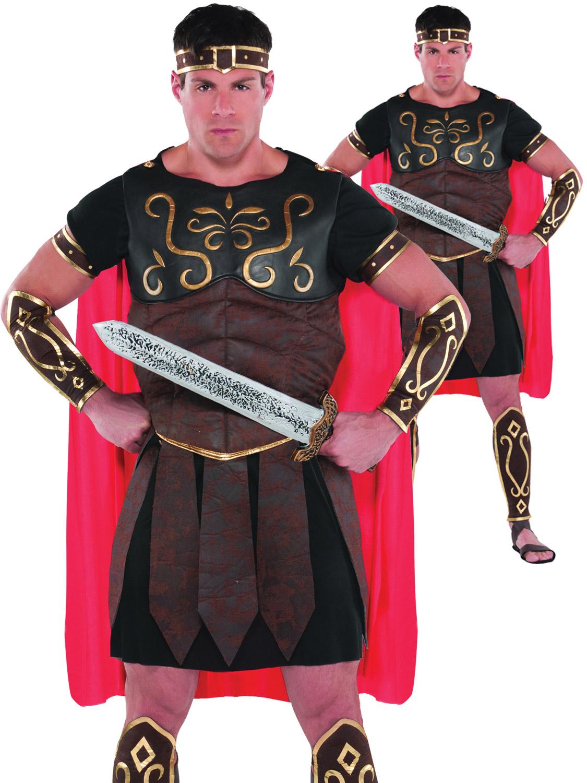 Mens Roman Centurion Costume Adult Gladiator Spartan Warrior Fancy Dress Outfit