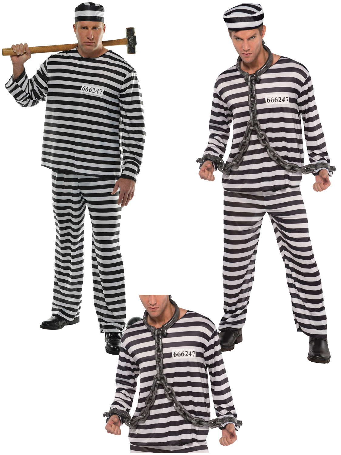 Mens jailbird con costume adult prisoner convict fancy dress transform yourself into a scary prisoner with this jail bird con costume ideal for a themed party or halloween solutioingenieria Image collections