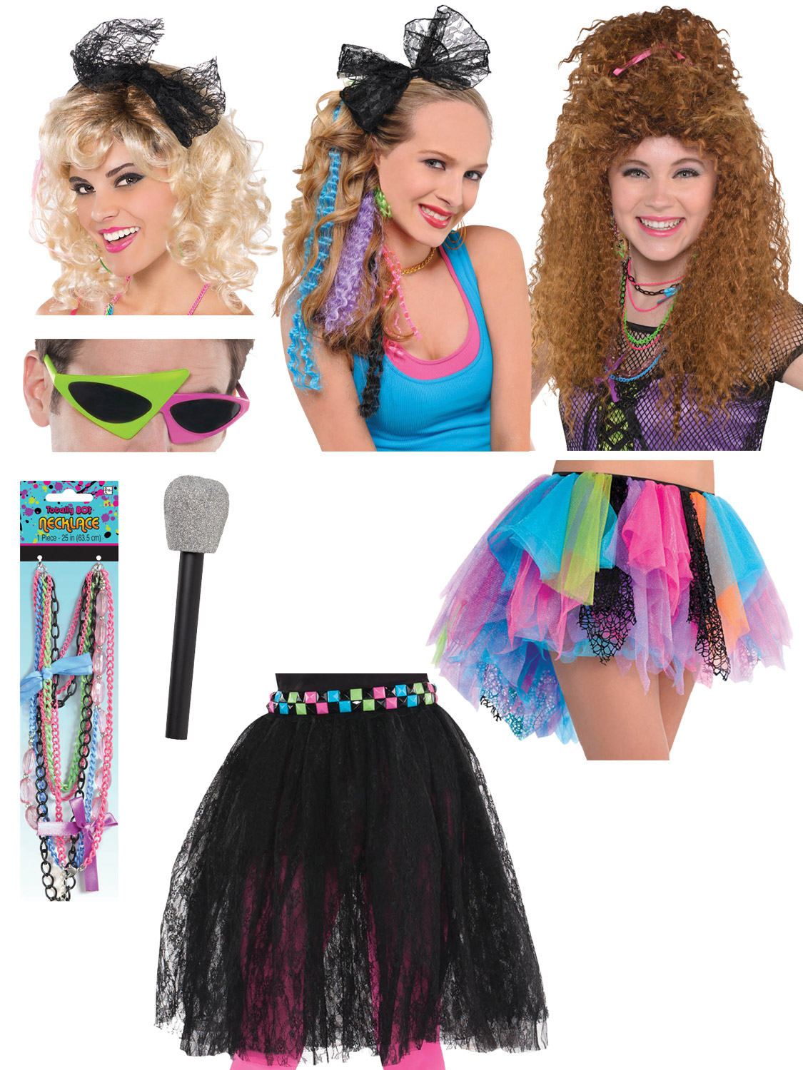 Details about Ladies 9s Costume Accessories Adults Disco Neon Fancy Dress  Pop Star Accessory