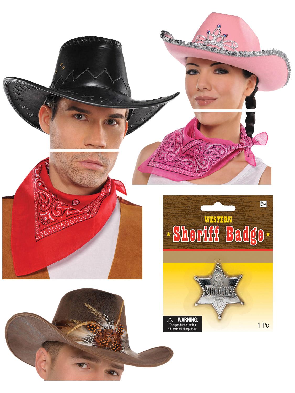 Details about Adults Cowboy Costume Accessories Mens Ladies Wild West Fancy  Dress Western