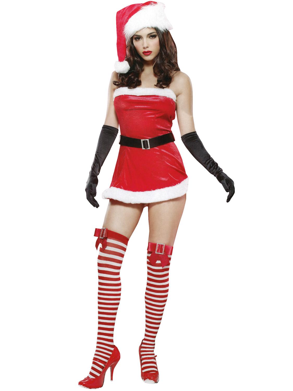 ladies sexy santa costume leg avenue mrs claus fancy dress