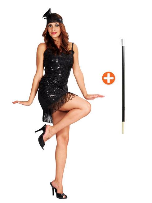 Charleston Flapper Costume & Cigarette Holder