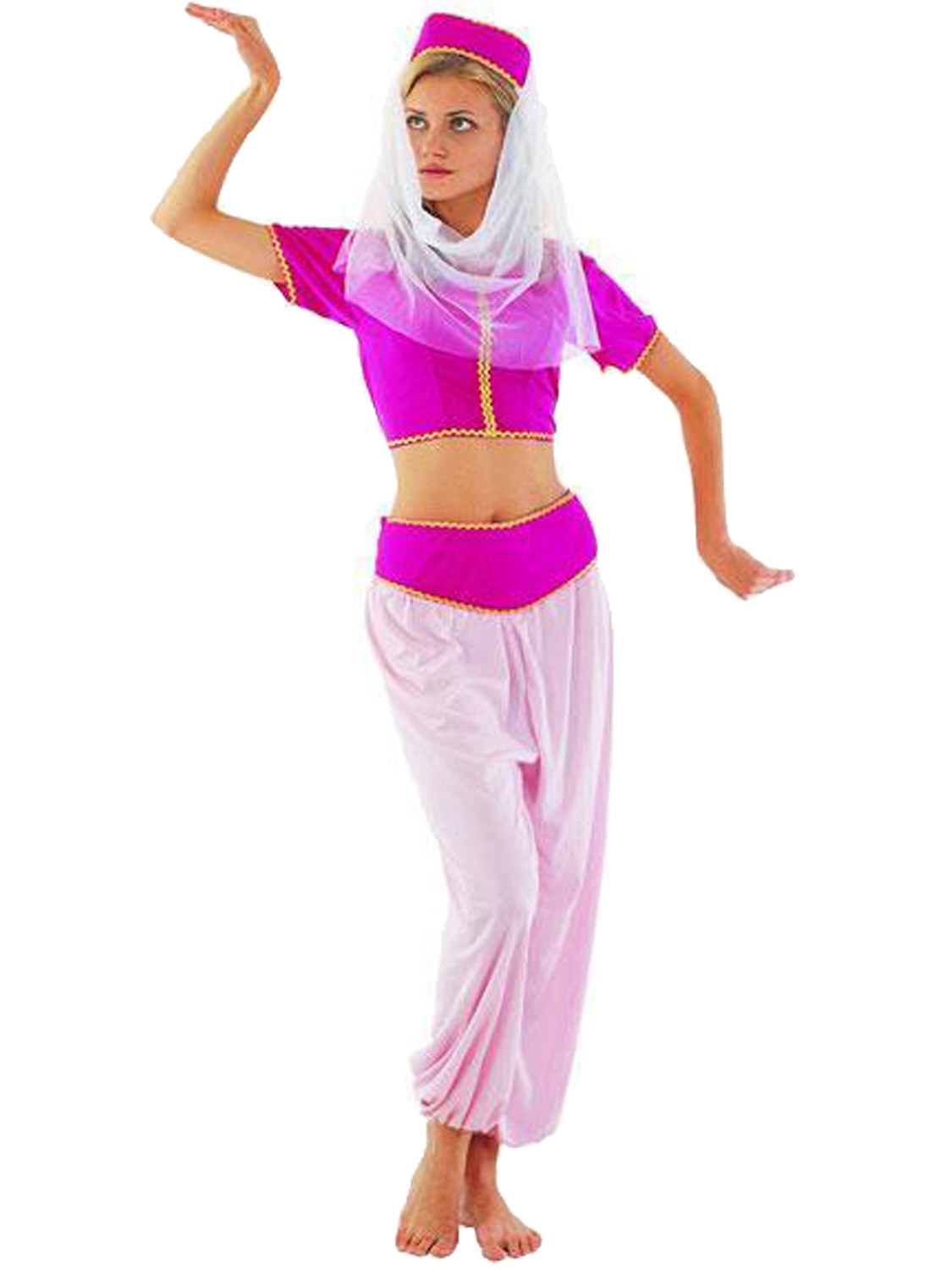 Ladies Arabian Princess Costume Adults Jasmine Fancy Dress Belly ...