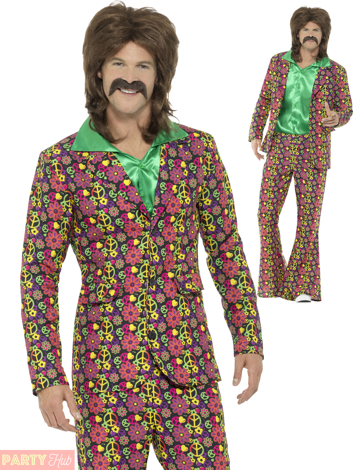 Mens 60s 70s Psychedelic CND Suit Adults Hippie Fancy ...