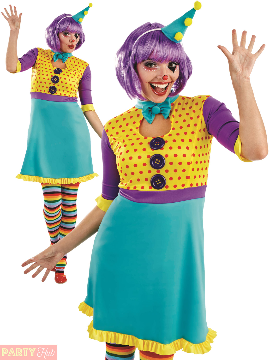 Ladies Clown Costume Adults Circus Fancy Dress Womens Carnival ...