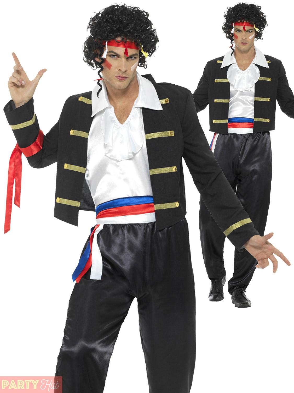 mens 80s boy george costume adult prince adam ant pop star fancy