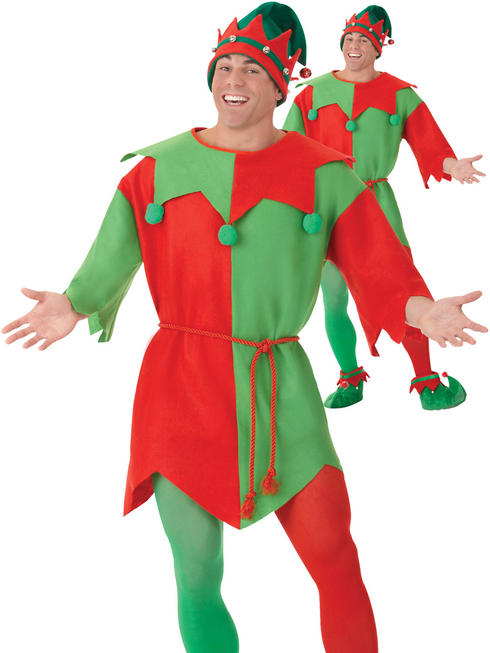 Adults Elf Costume Mens Ladies Santas Helper Fancy Dress Christmas Xmas Outfit