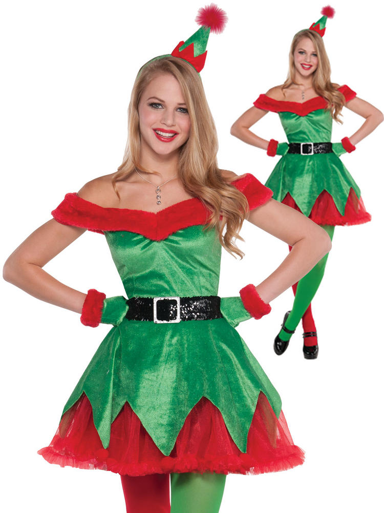 Ladies Sexy Little Helper Costume Adults Elf Christmas Fancy Dress Xmas Outfit