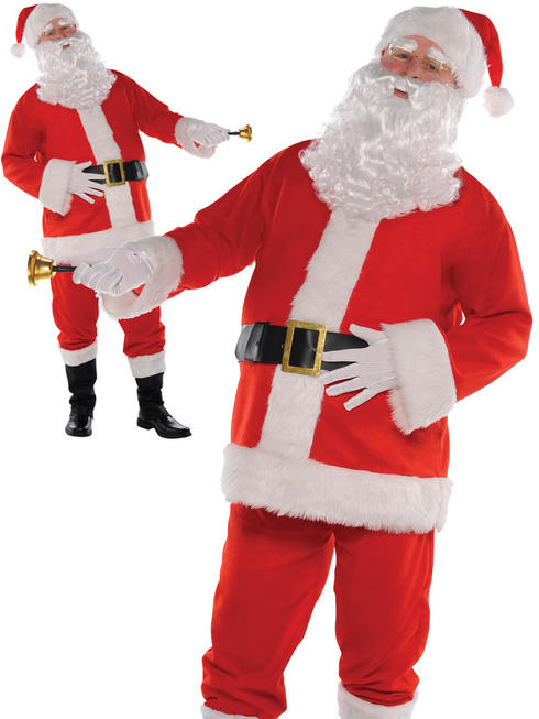 Mens Classic Santa Suit Adults Father Christmas Fancy Dress Xmas Costume Outfit
