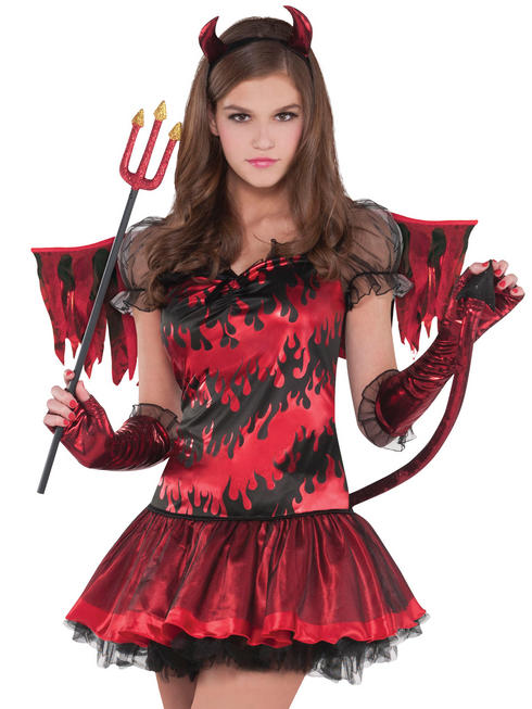 Girls Teen Hot Stuff Devil Costume Childs Halloween Fancy Dress Kids Outfit