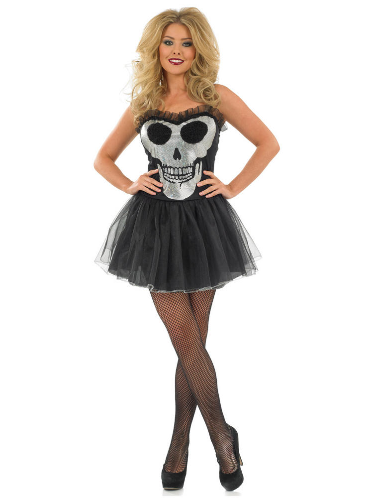 Ladies Glitzy Skull Tutu Costume