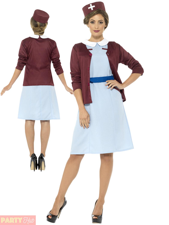 02c9e1d12e6 Details about Ladies Vintage Nurse Costume Adults Uniform Fancy Dress  Womens Hospital Outfit