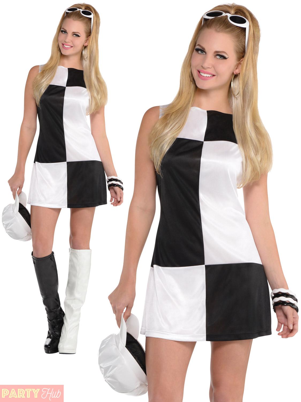 Ladies Mod Girl Costume Adult 60s 70s Go Go Fancy Dress ...