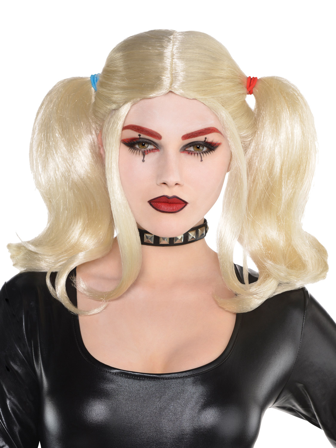 65a72ce6176 Details about Ladies Blonde Pigtail Wig Womens Harlequin Halloween Fancy  Dress Accessory