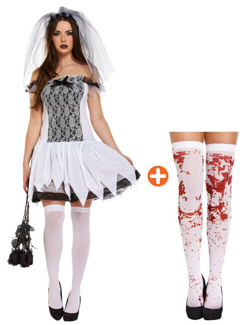 Ladies Sexy Teen Bride Costume & Stockings