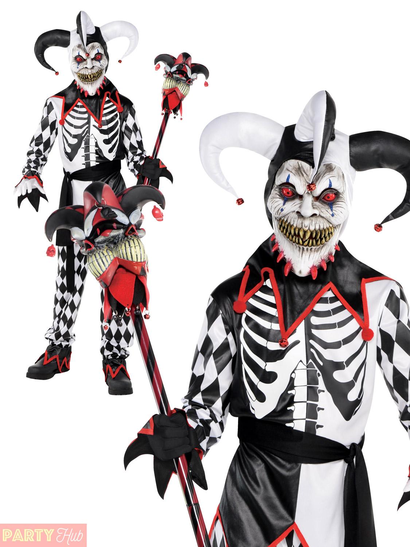 Evil Jester Costume Kids Scary Halloween Fancy Dress