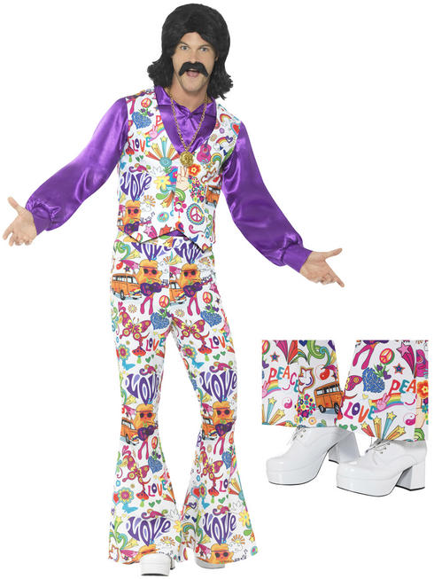 Men's 60s Groovy Hippie Costume & Shoes