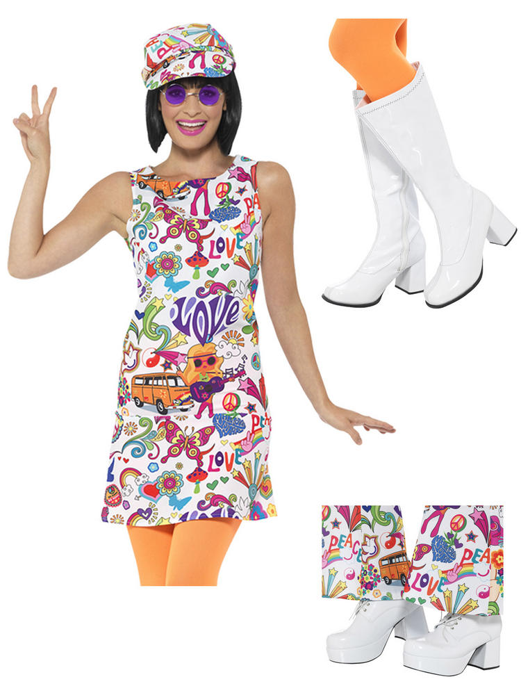 Ladies Groovy Chick Costume & Boots / Shoes
