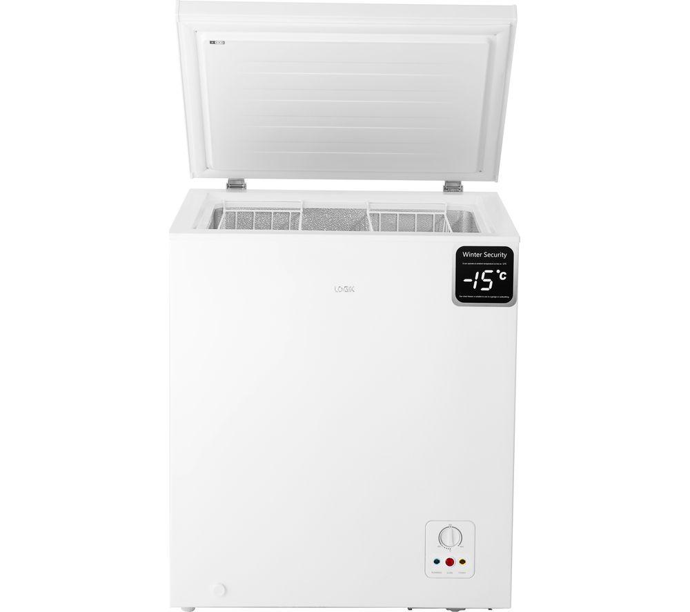 logik l142cfw17 chest freezer white 139l capacity with temperature alarm