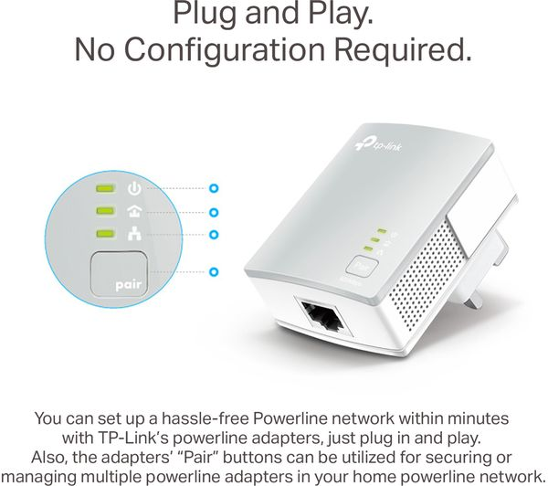 TP-LINK TL-PA4010 Powerline Adapter Kit - AV600, Twin Pack - Currys