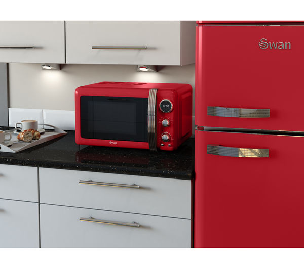 Sentinel Swan Retro Digital Sm22030rn Solo Microwave Red