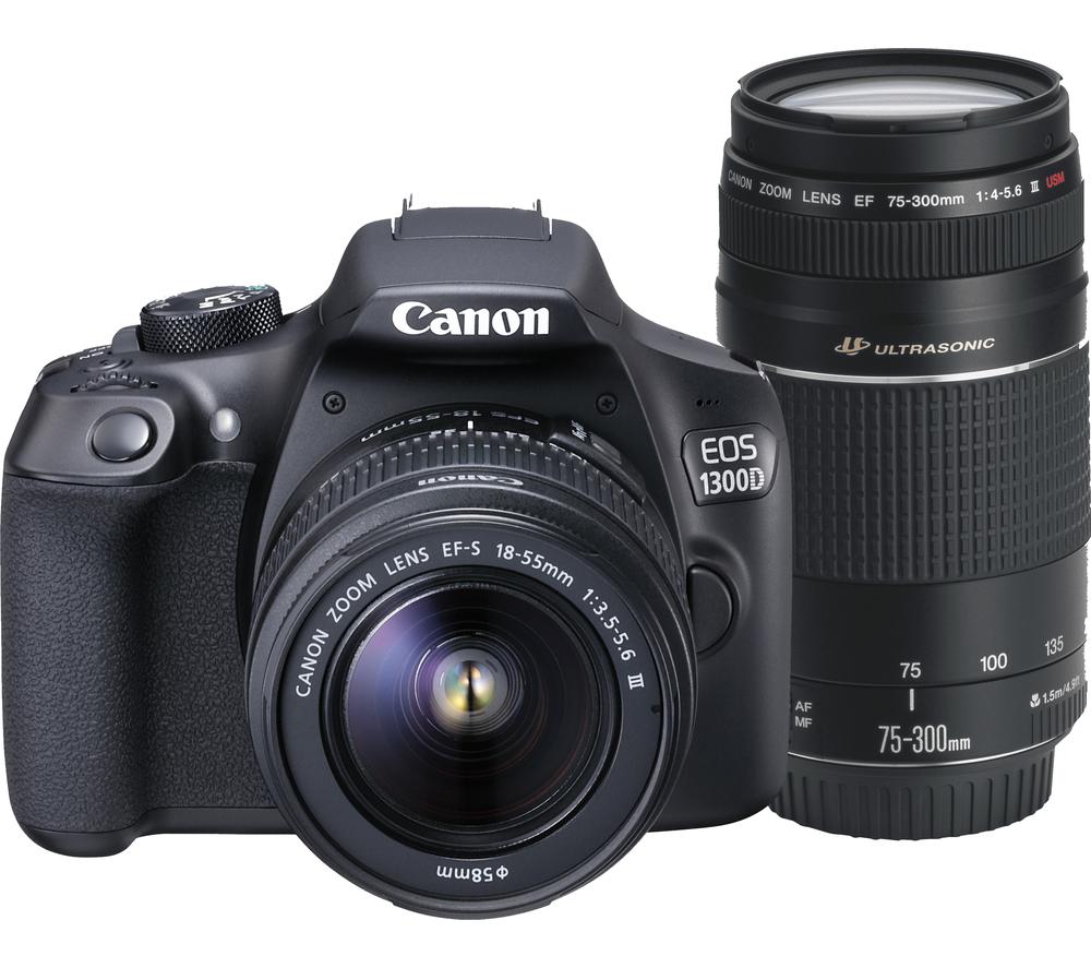 canon eos 1300d dslr camera 18 55mm zoom lens 75 300mm. Black Bedroom Furniture Sets. Home Design Ideas