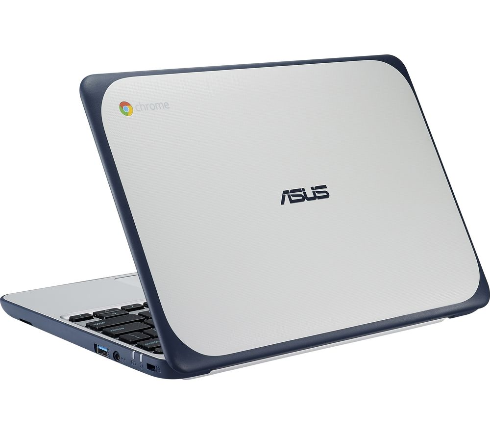 ASUS C202 11.6 Inch Chromebook - White & Blue - Currys