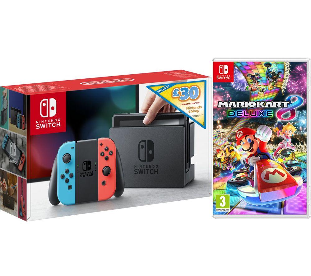 Nintendo Switch Neon With 30 Eshop Credit Mario Kart 8