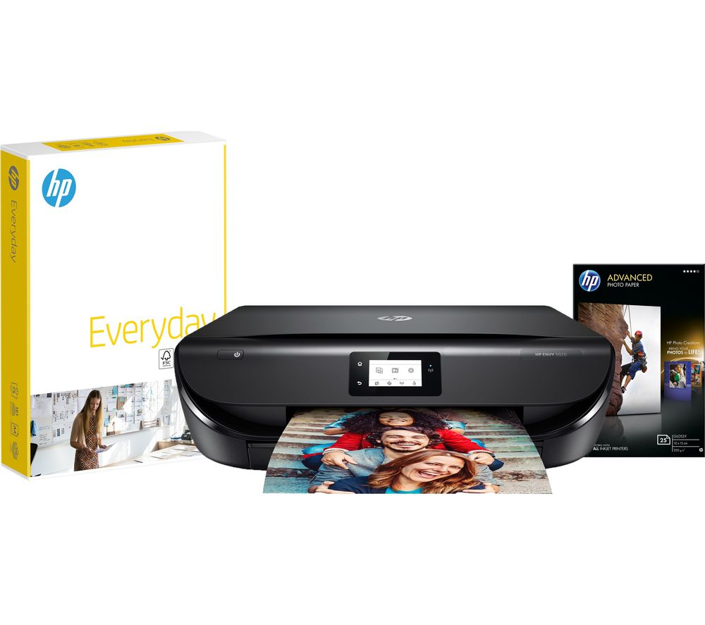 HP ENVY 5020 Wireless All-in-One Printer, Paper & Ink Bundle - Currys